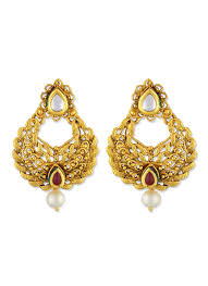chandbali earrings buy gold n maroon one stop fashion chandbali earrings stones