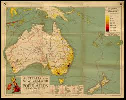 New Zealand And Australia Map Wall Map Of Australia U0026 New Zealand Density Of Population
