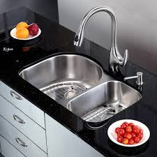 Cool Sink Faucets Kitchen Cool Kraus Undermount Sinks With Black Granite Top And