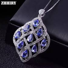 stone colored necklace images Buy women natural blue tanzanite stone pendant jpg