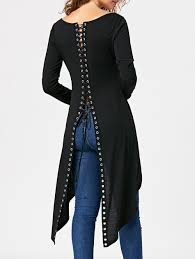 2018 halloween lace up high slit long sleeve tunic top black xl in