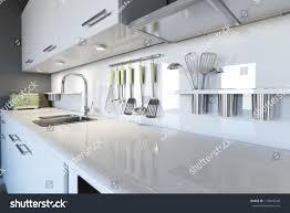 Kitchen Room Interior Design Modern White Kitchen Clean Interior Design Stock Photo 119843548