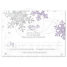 purple silver snowflake winter wedding rsvp card
