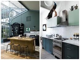 meuble cuisine vert cuisine verte mur meubles électroménager déco clematc