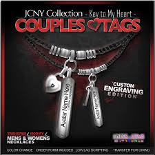 Personalized Dog Tags For Couples Second Life Marketplace Jcny U0027key To My Heart Couples Tags