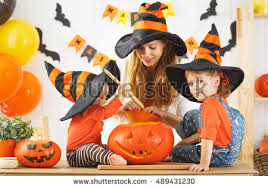 Decorate The Home Happy Family Mother Children Prepare Halloween Stock Photo