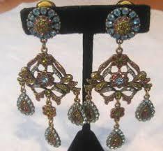 Blair Delmonico Crystal Beaded Chandelier Dazzling Vendome Japanned Sapphire Rhinestone Faux Pearl Clip