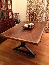 dining room dark wood live edge dining table with light wooden