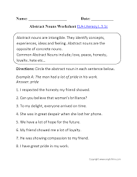 Common Core Math Worksheets Abstract Nouns Worksheet 1 Ela Literacy L 3 1c Language Worksheet