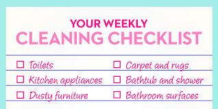 Household Items Checklist by Things You Should Clean Every Week Weekly Cleaning Chores