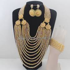 beads wedding necklace images Hot nigerian wedding african beads jewelry set crystal beads jpg