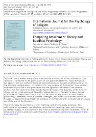 comparing attachment theory and buddhist psychology