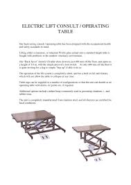 used electric lift table electric lift consult operation tables mcdonald veterinary