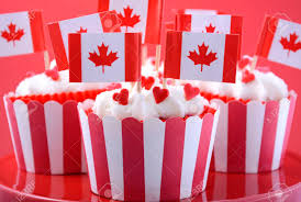Dessert Flags Happy Canada Day Party Cupcakes On A Red Cake Stand With Maple