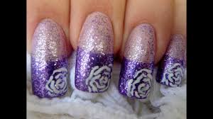nail art tutorial simple lilac rose design youtube