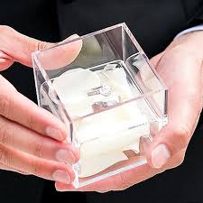 wedding ring holder clear acrylic 3 x 3 wedding ring box non personalized