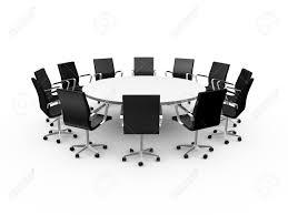 chaise de bureau ronde conférence table ronde et des chaises de bureau noir dans la salle