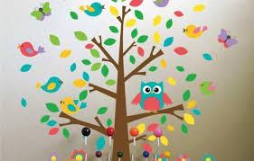chambre bebe hiboux design interieur décoration chambre bébé sticlers arbre hibou