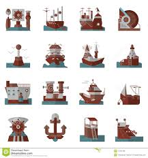 nautical flat color icons stock photo image 57282499