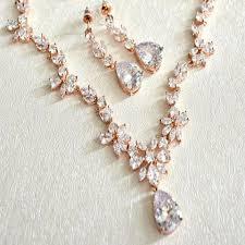 gold wedding necklace set images Rose gold cubic zirconia bridal jewelry set cz crystal wedding jpg
