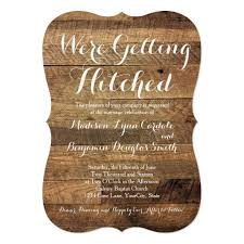 wooden wedding invitations getting hitched barn wood wedding invitations zazzle