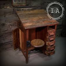 Drafting Table Storage Antique Industrial Style Drafting Table W Swing Stool 5 Drawers