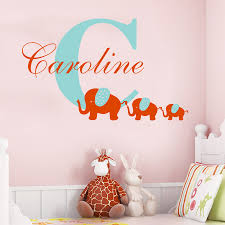 aliexpress com buy customize name initial elephant wall sticker aliexpress com buy customize name initial elephant wall sticker personalized baby nursery room vinyl sticker three elephant home decor mural w 64 from