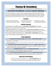 Construction Resume Sample Free by Resume Construction Manager Resume Sample