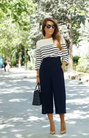 nautical chic attire culottes look inspiration work and clothes