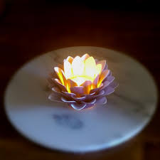Flower Table Lamp Paper Flower Decor Tealight Holder Handmade Paper Lotus