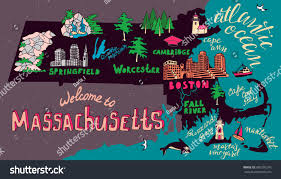 Massachusetts travel merry images Illustrated map massachusetts state usa travel stock vector jpg