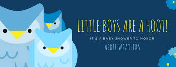 Owl Baby Shower Boy - owl baby shower boy facebook cover templates by canva