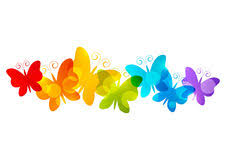 rainbow butterflies border for your design 4 stock vector