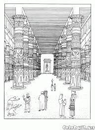 coloring page temple of the god amon