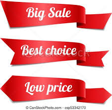 ribbon sale set of decorative sale ribbon banners with text vector