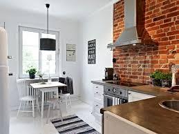 kitchen room rustic style kitchen with white scheme brick wall