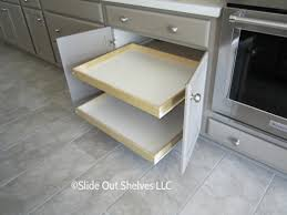 pull out shelves retrofitted to existing kitchen cabinet after