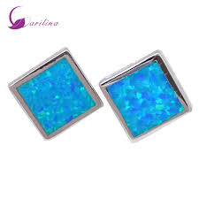 blue opal online shop fashion bijoux square blue opal earrings silver