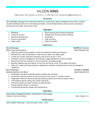 Resume For Store Manager Best Installation Repair Store Manager Resume Example Livecareer