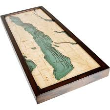 Michigan Elevation Map by Torch Lake Wood Map 3d Nautical Topographic Chart Framed Art