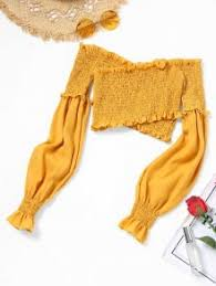 yellow blouse shoulder ruffles smocked crop blouse yellow blouses s zaful