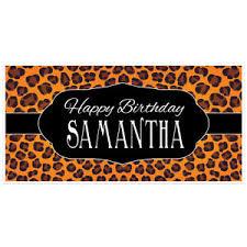 Personalized Photo Backdrop Cheetah Animal Print Birthday Banner Personalized Party Backdrop