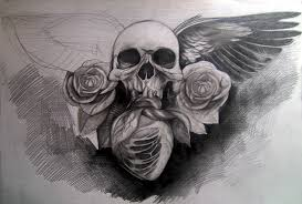 skull wings roses and by silviachan92 on deviantart