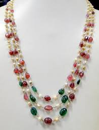 pearls beads necklace images Vintage antique old gold pearls ruby emerald beads necklace ebay JPG