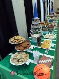 themed dessert table flour box bakery sports themed dessert tables