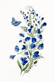 flower butterfly watercolor flowers flower giclee print