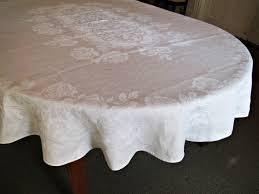 Oblong Table Cloth Quaker Lace Tablecloth Vintage Oval Cotton By Renaissanceprofessor