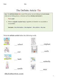 the definite article the english grammer exercises pinterest