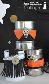 Halloween Home Crafts by Vintage Halloween Tin Can Craft Fox Hollow Cottage