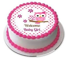 edible cake images welcome baby girl pink owl baby shower edible cake image topper ebay